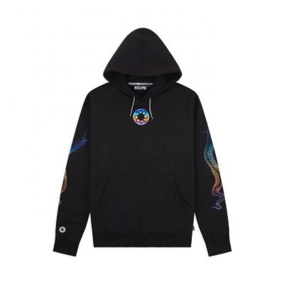 OCTOPUS - EMBROIDERED LOGO HOODIE - BLACK